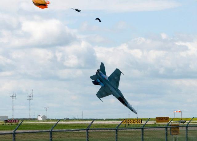 Crash just prior to impact, Ejection Seat Detonation, Canadian CF18 Crash, Alberta Airshow, Capt. Brian Bews, F18 Crash July 2010, The Canadian Press, Lethbridge Herald, Ian Martens